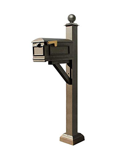 (Qualarc WPD-SC2-S4-LMC-BZ Westhaven Cast Aluminum Post Mount System with Lewiston Mailbox, Square Collar and Large Ball Finial, Ships in 2 Boxes, Bronze)