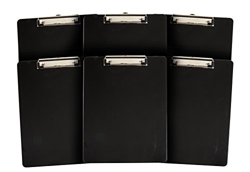 6 Pack Black Plastic Clipboard, Low Profile Clip, Clipboards for classrooms, offices, restaurants, doctor offices, 6 Plastic Clipboard Pack by Blue Summit Supplies