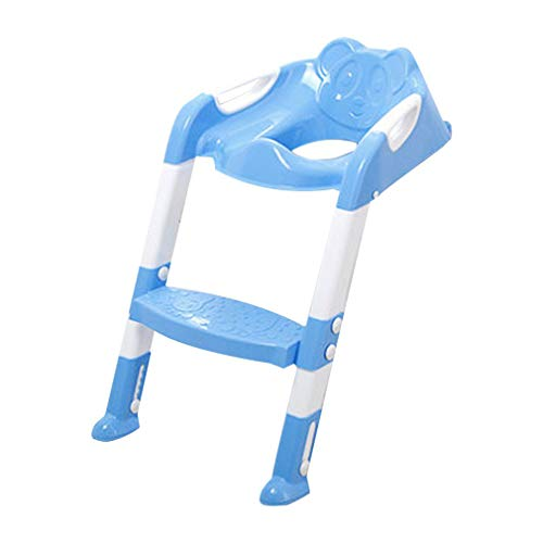 WDXIN Baby Child Ladder Step Potty Training Toilet Seat Large Child Toilet Bowl Toilet Seat Baby Toilet Ladder Fold Toilet Baby Child Toilet Seat,Blue ()
