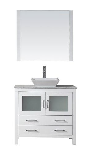 Virtu USA KS-70030-WM-WH Modern 30-Inch Single Sink Bathroom Vanity Set with Polished Chrome Faucet, White