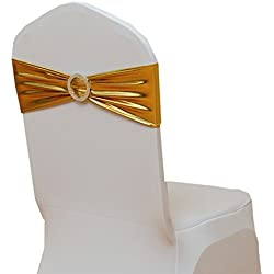 Fvstar 30pcs Gold Spandex Chair Sashes Metallic Chair Tie Sash Chair Bows for Wedding Baby Shower Party Decor