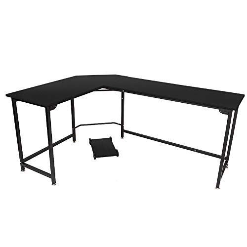 Modern L-Shaped Desk with CPU Stand Corner Computer Desk PC Laptop Study Table Workstation Computer Desk L-Shaped Desk Corner Laptop Computer Table with Wood and Metal Shelf for Home Office (Black)