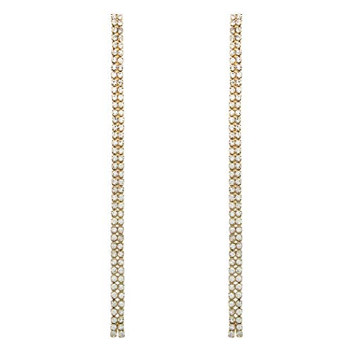 (Rosemarie Collections Women's Double Strand Crystal Rhinestone Extra Long Drop Earrings (Gold))
