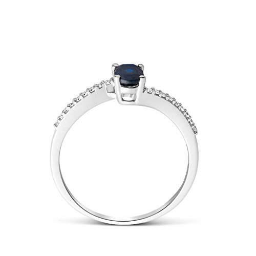 Miore - Bague Solitaire - Or Blanc 9 cts - Saphir