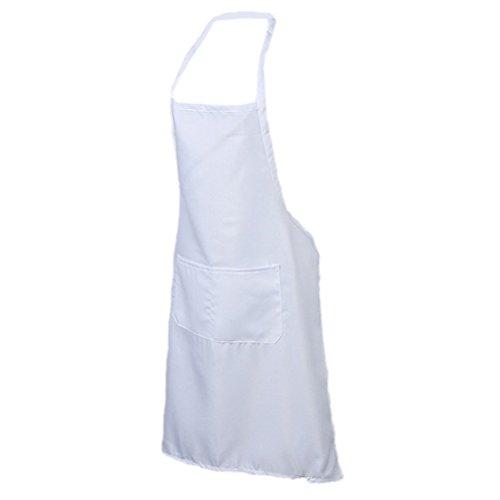 Nunubee Unisex Schürze Polyester Lätzchen Grillschürzen Arbeitskleidung Kochschürze mit Fronttasche,Weiß