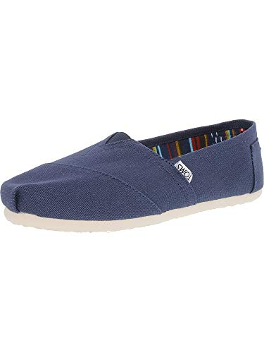 Toms Womens Classic Canvas Navy Canvas Ankle-High Canvas Flat Shoe - 6M (High Shoes Canvas)