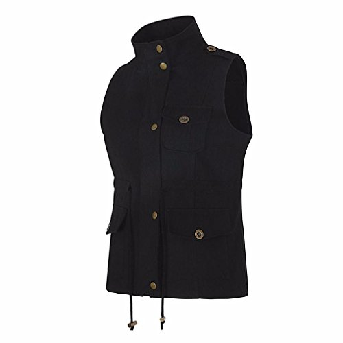 Autumn Dinglong Womens Vest Drawstring Multi Sleeveless Up Stretchy Zip Pocket Ladies Jacket Spring Black Lightweight With rBBqt