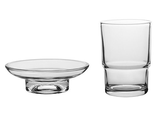 Livpow Glass Toothbrush Cup and Soap Dish Replacement Set Clear