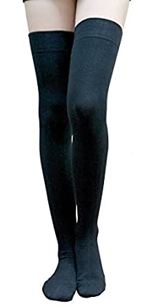 AM Landen Cotton Thigh High Socks Over Knee High Socks Leg Warmer Elegant Sexy Stockings (Small, Black)