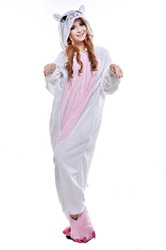 NEWCOSPLAY Black/White cat Costume Sleepsuit Adult Onesies Pajamas (XL, white cat)]()