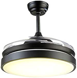 PIANUO Vintage Ceiling Fan with Light Retro Ceiling Fan Lamp 3 Retractable Blades 42 inches Industrial Dimmable Pendant Light with Remote Control for Living Room, Bedroom, Kitchen