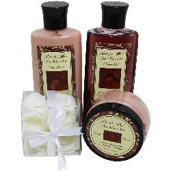 Chocolate Truffle Spa Gift Set by Art de Moi, 4 Piece Kit with Shower Gel, Moisturizing Lotion, Body Butter, and Flower Soaps, Perfect Gift Ideas for Chocolate ()