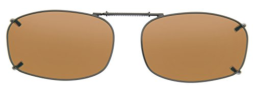 Cocoons Polarized Clip-on Rectangle 5 L4249A Rectangular Sunglasses, Bronze, 52 - Sunglasses Clip-on Cocoons