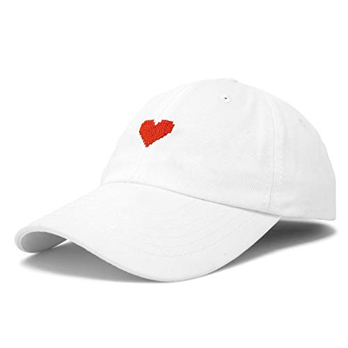 DALIX Pixel Heart Hat Womens Dad Hats Cotton Caps Embroidered Valentines White ()