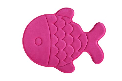 Memory Foam Bath Mat-Incredibly Soft and Absorbent Rug, Cozy Velvet Non-Slip Mats Use for Kitchen or Bathroom (22 Inch x 27 Inch, Pink Fish)