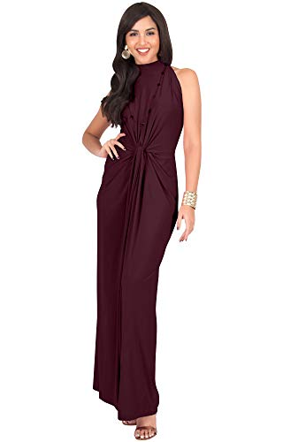 KOH KOH Petite Womens Long Sleeveless Sexy Vintage Cocktail Slimming Party Evening Summer Sun Prom Bridesmaid Wedding Guest Sundress Gown Gowns Maxi Dress Dresses, Maroon Wine Red XS 2-4