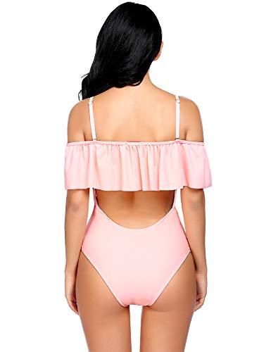 f2991b9933c Oheetu Women One Piece Bikini Lace up Ruffled Off Shoulder Plus Size  Bathing Suits Pink S