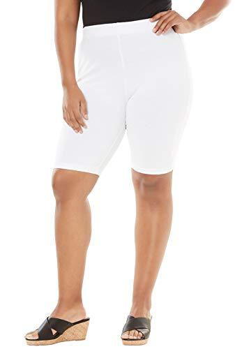 Roamans Women's Plus Size Essential Stretch Bike Short - White, - Lycra Short Bike Stretch