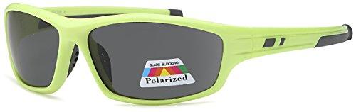 West Coast Polarized Sunglasses | Lightweight Plastic Frame | Reduces Sun Glare ... (Neon Yellow, Smoke Gray)