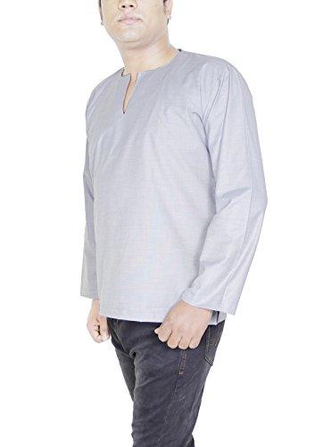 Herren Kurta in Grau Baumwolle Ethnisches Herrenhemd aus Indien ...