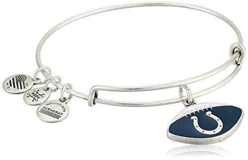 Alex and Ani Women's Color Infusion Indianapolis Colts Football II EWB Bracelet, Rafaelian Silver ()