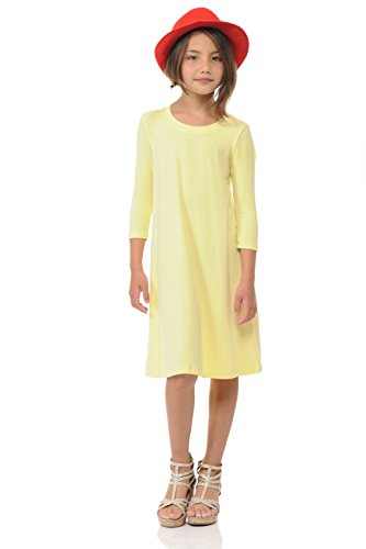 Pastel by Vivienne Honey Vanilla Girls' Trapeze Dress with Easy Removable Label X-Large 11-12 Years Banana