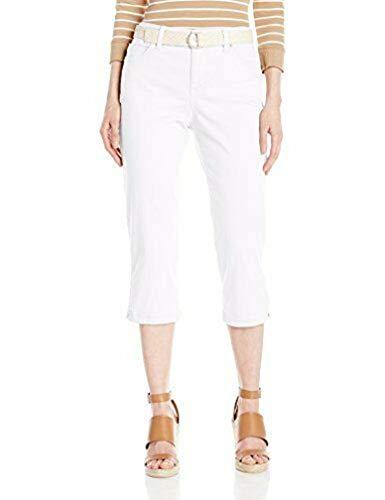- Bandolino Women's Mandie 5 Pocket Belted Capri, White, 12