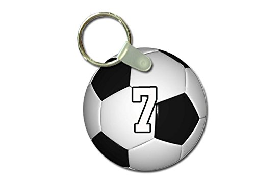 (TYD Designs Key Chain Sports Soccer Customizable 2 Inch Metal and Fully Assembled Ring with Any Team Jersey Player Number 7)
