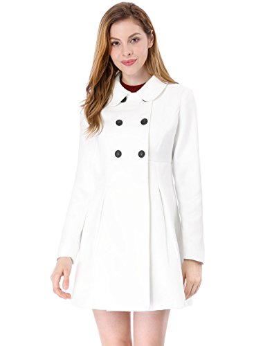 Allegra K Women's Double Breasted Peter Pan Collar Coat XL Off White