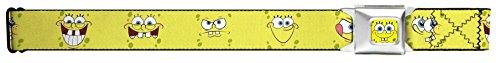 Buckle Down Big Boys Sponge Bob Expressions Yellow Seatbelt Belt, multi, Extra Large