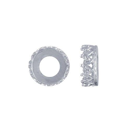 Argentium Silver 8mm Round Gallery Wire Bezel Cup - Silver Gallery Wire