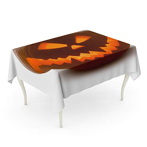 Tarolo Rectangle Tablecloth 60 x 102 Inch Orange Carving Halloween Pumpkin Scary Jack O Lantern White Yellow Clipping Curve Face Glowing Table Cloth -
