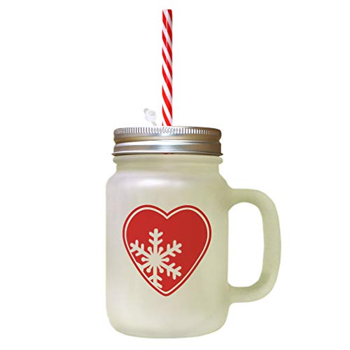 Red Heart Snowflakes Image Frosted Glass Mason Jar With Straw ()
