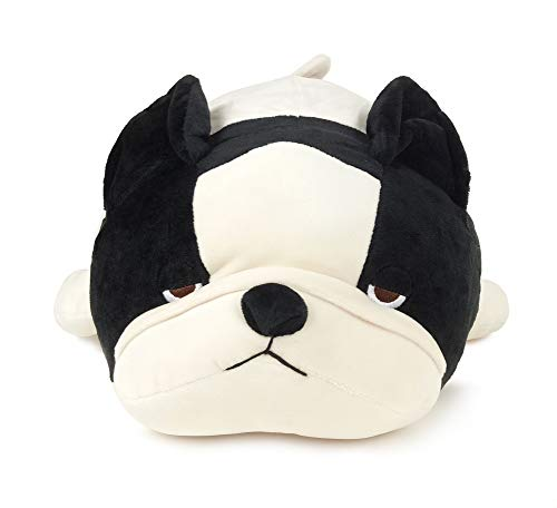 Livheart Japan Brown Pug Hana & Black and White French Bulldog Buburu Medium-Sized Super Soft and Squishy Stuffed Marshamllow Japanese Dog Plush (French Bulldog Buburu) ()
