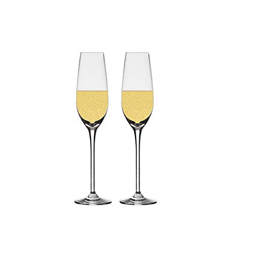 Chefoh Champagne Flutes Crystal Wine Glasses - Perfect for Wedding, Parties and Bar, Made From 100% Pure Glass Pack - 7 Oz - Set of 2