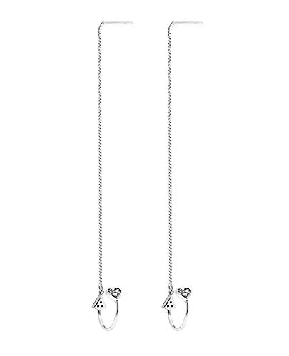 6d6feac59 OwMell 925 Sterling Silver Heart Cuff Chain Earrings Wrap Tassel Earrings  for Women Threader Earrings