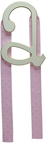 - New Arrivals Wooden Letter A with Pink Polka Dot Ribbon, Cream