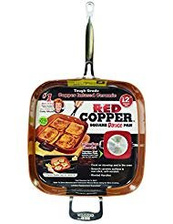 (Red Copper Cookware 12-Inch Square Frying Pan by BulbHead, Non-Stick and Scratch-Resistant)