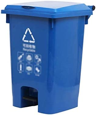 滑らかな表面 パーク分類ゴミ箱、パティオ、庭のための飛散防止大容量・ペダルタイプビンのリサイクルごみ箱耐久性に優れたデザイン リサイクル可能なデザイン (Color : Blue, Size : 38*45*61CM)