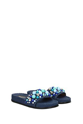 Blue Woman zoccoli Aquazzura bnbflas0spu Pantofole Bon Eu e Tessuto Navy q74Cx1w