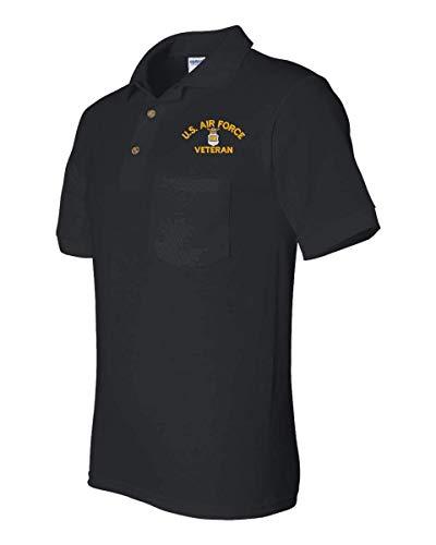 MilitaryBest U.S. Air Force Veteran Pocket Polo Black