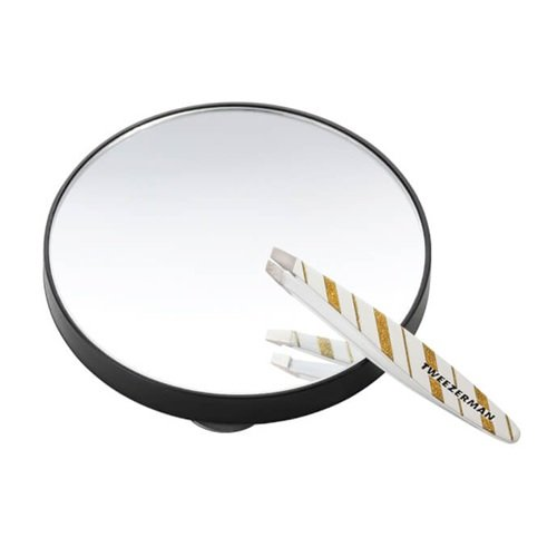 (Tweezerman Professional - Merry & Bright - Mini Slant Tweezer & 10x Magnifying Mirror DUO)