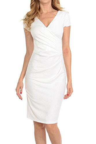 omens V-neck Zip Up Work Office Career Side Wrap Sheath Dress Off White Large (White Career Dress)