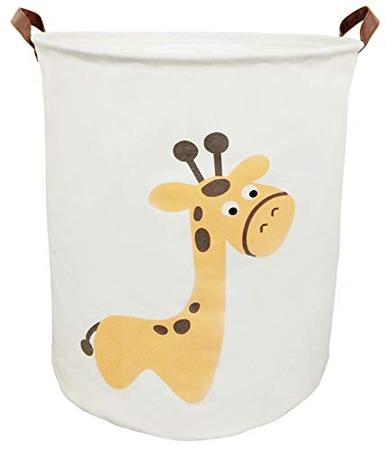 BOOHIT Storage Baskets,Canvas Fabric Laundry Hamper-Collapsible Storage Bin with Handles,Toy Organizer Bin for Kid's Room,Office,Nursery Hamper, Home Decor (Giraffe) ()