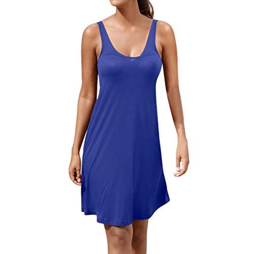 HYIRI Beach Strap Dress, Women's Casual Solid Sleeveless Boho Bandage Mini Dress Blue from HYIRI