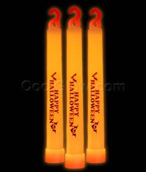 (Fun Central V783 - 6 inch Medium sized Glow Sticks, Glow Stick, Glow Sticks Bulk, Glow Sticks for Kids, Glow in the Dark Sticks, Glow in the Dark Centerpieces - Orange, Happy Halloween themed, 25 ct)