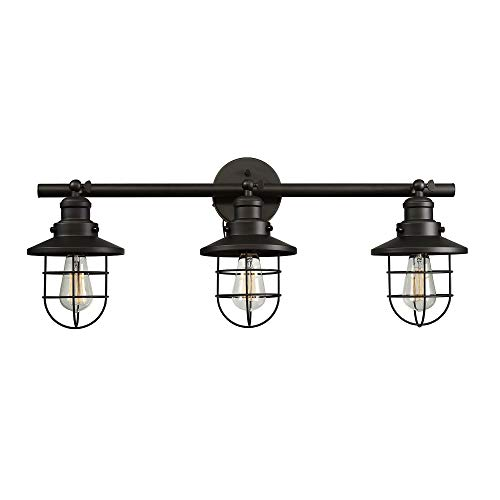 - Globe Electric Beaufort 3-Light Wall Sconce, Oil Rubbed Bronze Finish, Removable Cage Shade, 59115