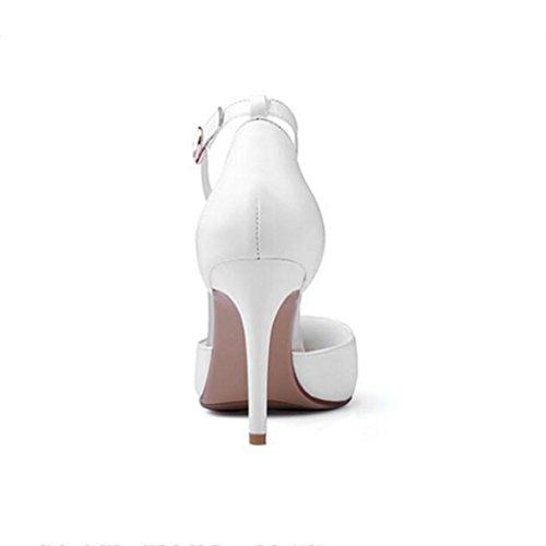 W&LM Sandalias de mujer piel genuina propina Lado vacío multa Tacones altos zapato Sandalias palabra hebilla White