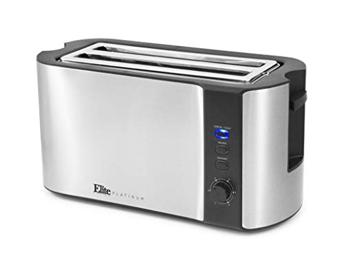 Elite Platinum ECT-3100 Stainless Steel Long Slot Toaster, Bagels, Specialty Breads Reheat, Cancel & Defrost Settings, 4 Slice, 1300 Watts, Silver & Black
