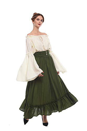 ROLECOS Renaissance Medieval Dress Victorian Peasant Retro Gown Shirt and Skirt Green -